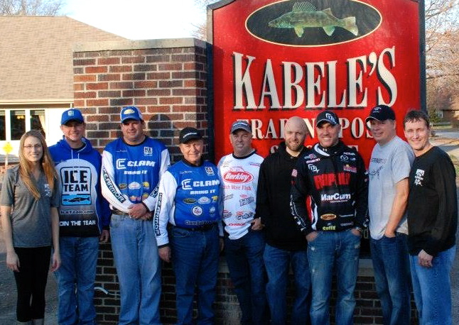 L to R: Tanya Johnson, Kabele's Trading Post; Kevan Paul, Clam Outdoors and Ice Team; Jason Mitchell, Clam Outdoors and Team; Steve Weisman, Clam Outdoors and Ice Team; John Grosvenor, Ice Force and Berkley; Cory Kassube, Rassat Outdoor Group, 13 Fishing; Trevor Fey, 13 Fishing, Ice Force; Shawn Knodt, Striker Ice; Thane Johnson, Kabele's Trading Post