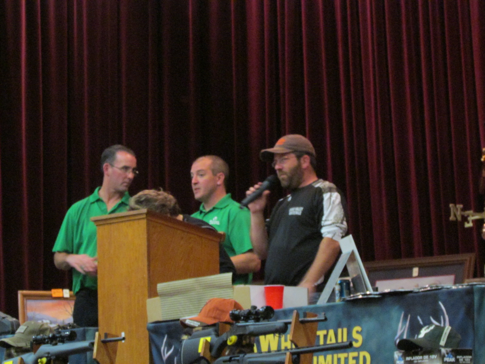 Serving as hosts for the 2013 Sioux Valley Whitetails Banquet were from left Whitetails Unlimited Field Director Tim Powers, Assistant Eric Yarbrow, and local chapter President Craig Handke.