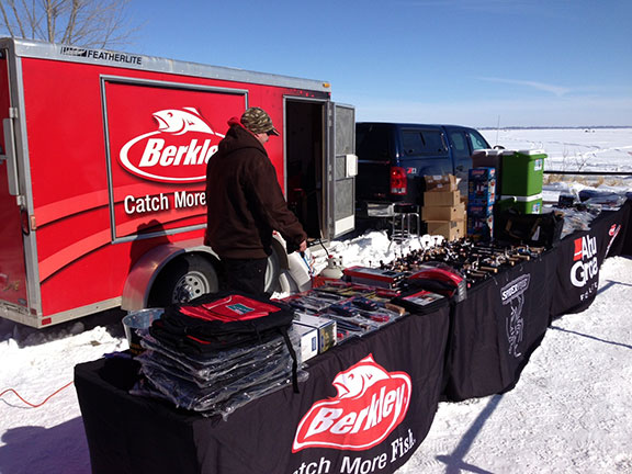 Last year's weigh-in site. Lots of prizes and ice fishing product will be given out during the weigh-in at this year's Pure Fishing Foundation's fourth annual Ice Fishing Tournament set for West Okoboji's Emerson Bay on Saturday, February 15.