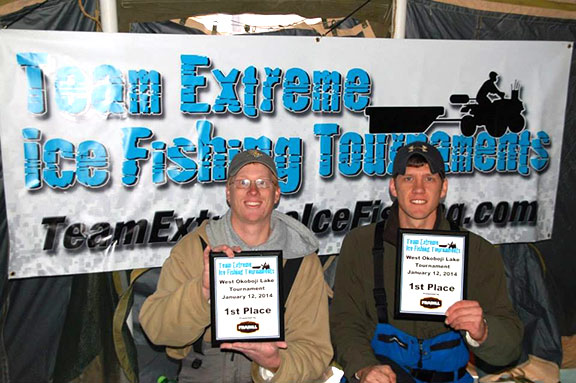 The team of Blaine Fopma and Brett Sichmeller from Rock Valley took home the championship at the first qualifier on the Iowa division of the Team Extreme ice fishing circuit.