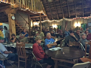 (photo by Steve Weisman) A good crowd was on hand at the Little Swan Lake open house to learn more about the upcoming Little Swan Lake restoration project.