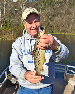 The author with a nice 15-inch brown trout.