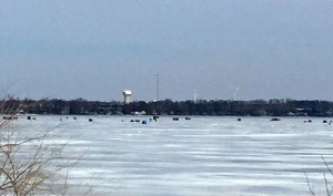 "(photo by Steve Weisman) Just a few of the ""towns"" of anglers spread out across the middle of East Okoboji last weekend."