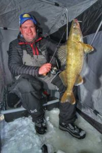 (photo submitted) The author, Jason Mitchell reveals some deadly insights for catching more walleye this winter with aggressive lure tactics.
