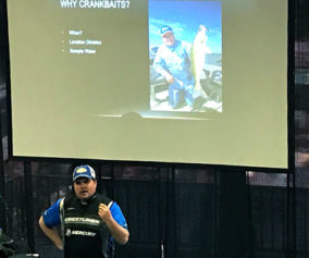 (photo by Steve Weisman) Mitchell shares his expertise on Advanced Trolling Tips during the recent Sioux Falls Sports Show.