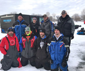 Top four teams at Stan's Emerson Bay Bluegill Tournament. (L to R-kneeling) Tyler Evers and Jamie Kuiawa, first place; Colby Kraninger and Keith McCormick, second place. (L to R-standing) Rod Blau and Calvin Grosvenor, third place; Travis Frazee and Darren Jones, fourth place.